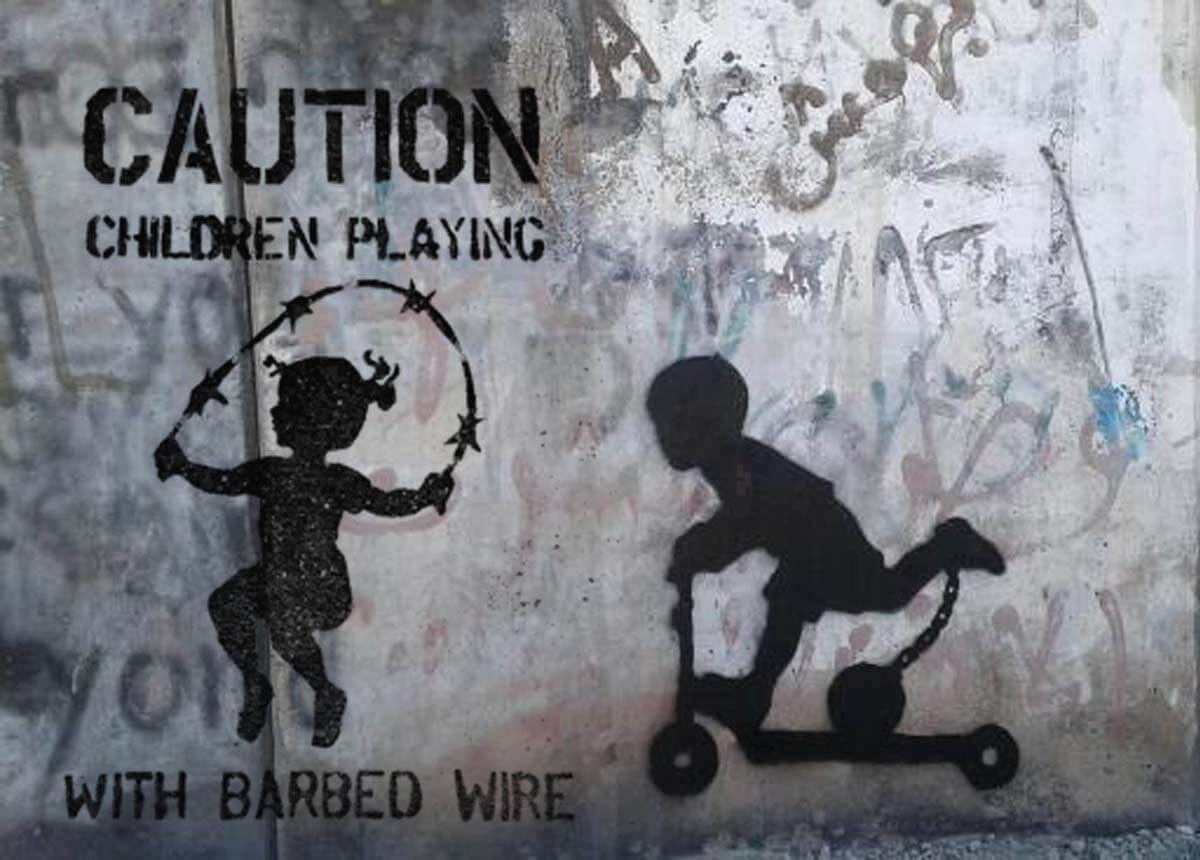 CAUTION! Children playing with barbed wire
